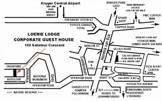 Map Loerie \'Corporate Guest\' House in Phalaborwa  Valley of the Olifants  Limpopo  Zuid-Afrika