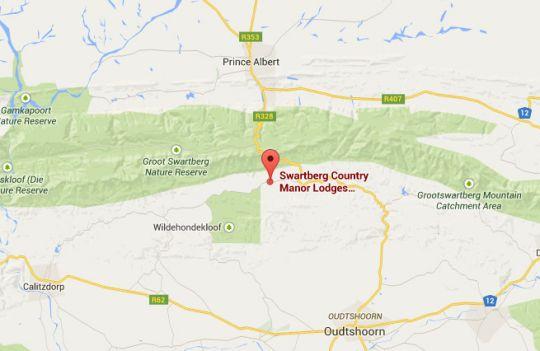 Map Swartberg Country Manor in Oudtshoorn  Klein Karoo  Western Cape  South Africa