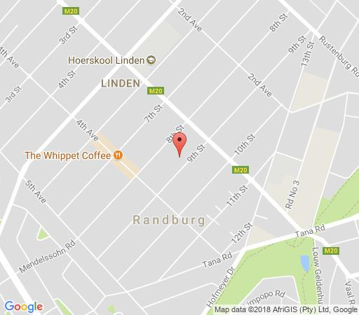Map Cherry Tree Cottage in Linden  Northcliff/Rosebank  Johannesburg  Gauteng  Afrique du Sud