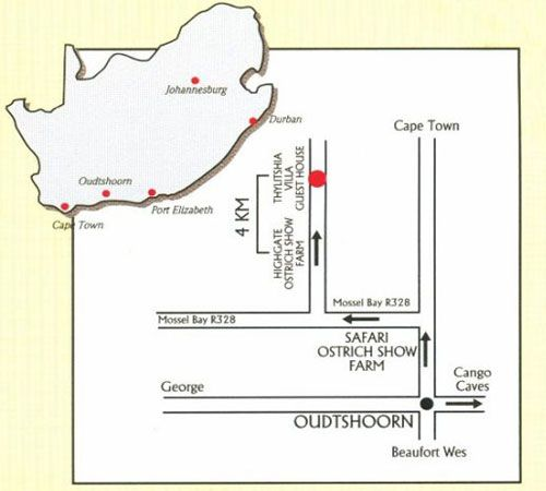 Map Thylitshia Villa Country Guesthouse in Oudtshoorn  Klein Karoo  Western Cape  South Africa