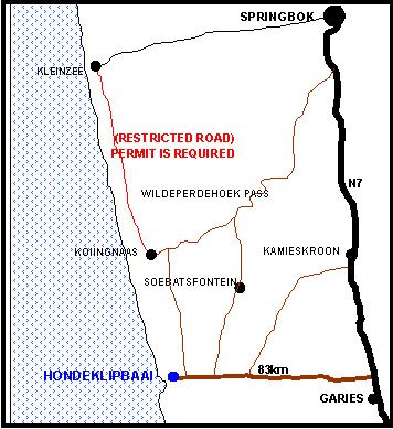Map Skulpieskraal, Hondeklipbaai in Hondeklipbaai  Namakwaland  Northern Cape  South Africa