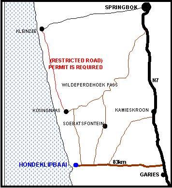 Map Skulpieskraal, Hondeklipbaai in Hondeklipbaai  Namakwaland  Northern Cape  Südafrika
