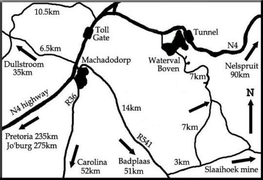 Map Shamrock Arms Guest Lodge in Waterval Boven  Highlands  Mpumalanga  South Africa