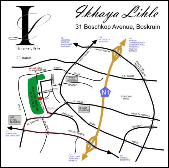Map Ikhaya Guest House in Boskruin  Randburg  Johannesburg  Gauteng  Afrique du Sud
