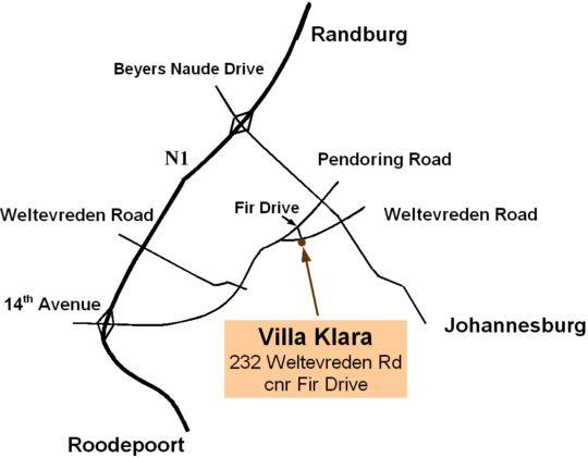 Map Villa Klara B&B in Northcliff  Northcliff/Rosebank  Johannesburg  Gauteng  South Africa