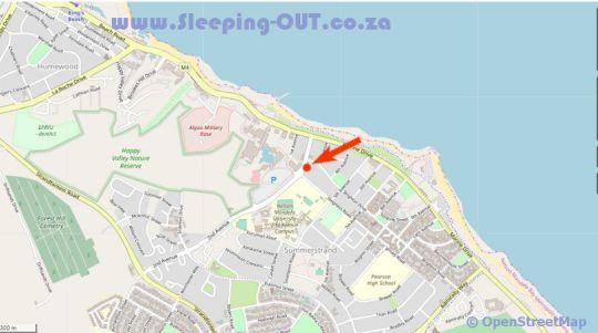 Map Hobiebeach Guest House in Summerstrand  Port Elizabeth  Cacadu (Sarah Baartman)  Eastern Cape  South Africa