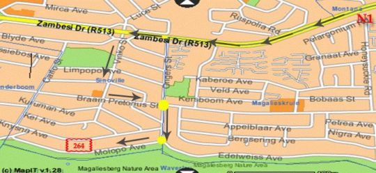 Map Molopo View Guesthouse in Sinoville  Pretoria North  Pretoria / Tshwane  Gauteng  South Africa