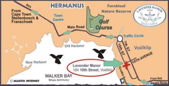 Map Lavender Manor Guest Lodge in Hermanus  Overberg  Western Cape  South Africa