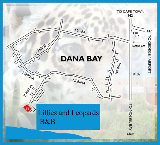 Map Lilies & Leopards B&B in Mossel Bay  Garden Route  Western Cape  South Africa