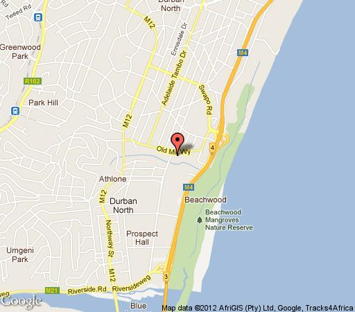 Map The Palms Bed and Breakfast in Durban North  Northern Suburbs (DBN)  Durban and Surrounds  KwaZulu Natal  South Africa