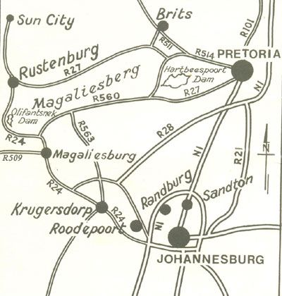 Map Blue Roan Country Lodge in Magaliesburg  West Rand  Gauteng  South Africa