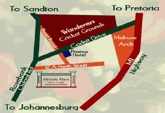 Map Melrose Place Guest Lodge in Melrose  Sandton  Johannesburg  Gauteng  South Africa