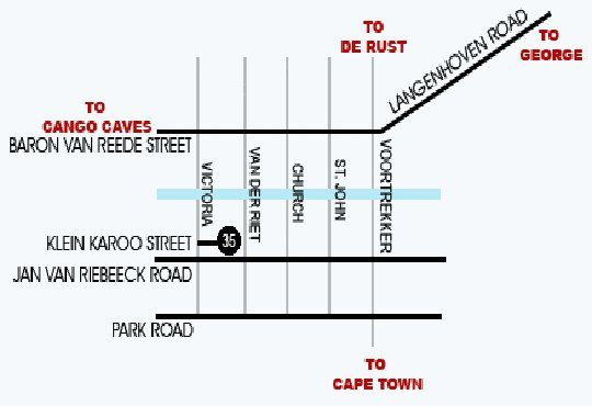 Map Cul De Sac  in Oudtshoorn  Klein Karoo  Western Cape  South Africa