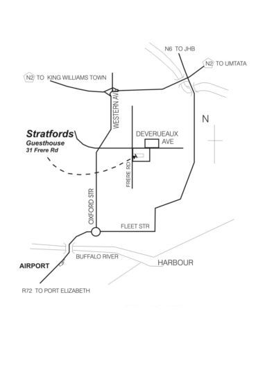 Map Stratfords Guesthouse in Vincent  East London  Amatole  Eastern Cape  Zuid-Afrika