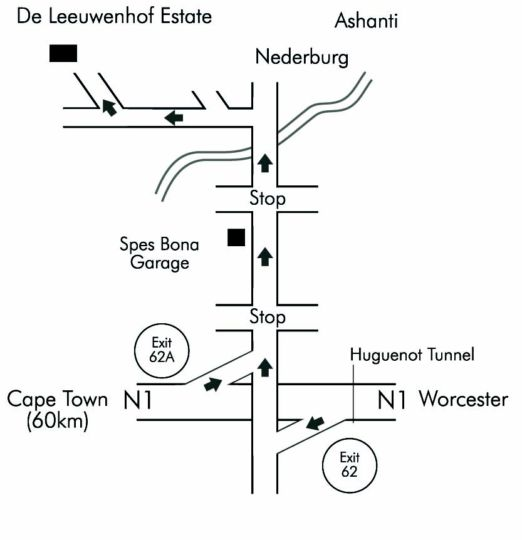 Map De Leeuwenhof Hotel and Guesthouse in Paarl  Cape Winelands  Western Cape  South Africa