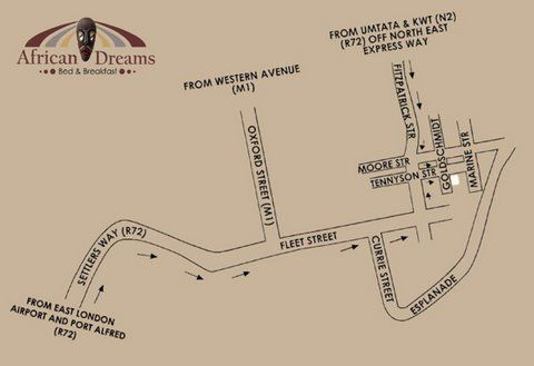 Map African Dreams Bed and Breakfast in Quigney  East London  Amatole  Eastern Cape  Suid-Afrika