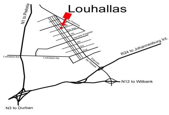 Map Louhallas in Edenvale  Ekurhuleni (East Rand)  Gauteng  South Africa