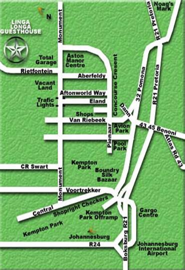 Map Linga Longa Guest house in Kempton Park  Ekurhuleni (East Rand)  Gauteng  South Africa
