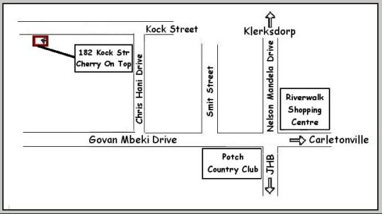 Map Cherry on Top Self Catering in Potchefstroom  Southern (NW)  North West  South Africa