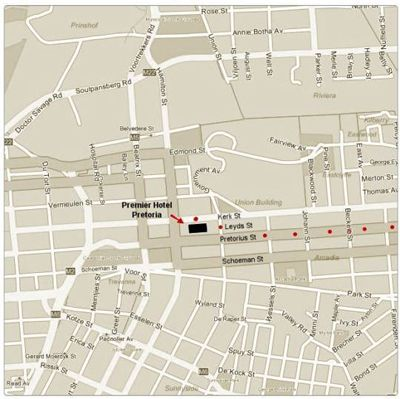 Map Premier Hotel Pretoria in Arcadia  Pretoria Central  Pretoria / Tshwane  Gauteng  South Africa