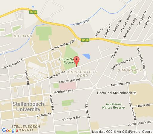 Map Banghoek Place Stellenbosch in Stellenbosch  Winelands  Western Cape  Afrique du Sud