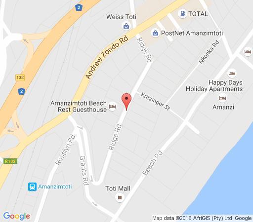 Map Amanzimtoti Beach Rest in Amanzimtoti  South Coast (KZN)  KwaZulu Natal  South Africa