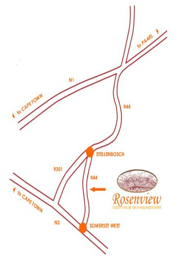 Map Rosenview Guest Farm in Stellenbosch  Cape Winelands  Western Cape  Afrique du Sud