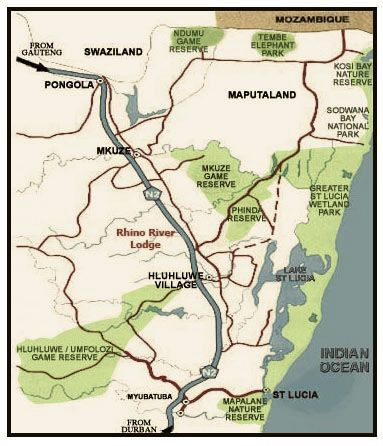 Map Rhino River Lodge in Hluhluwe  Zululand  KwaZulu Natal  South Africa