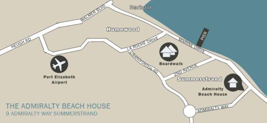 Map Admiralty Beach House in Summerstrand  Port Elizabeth  Cacadu (Sarah Baartman)  Eastern Cape  South Africa