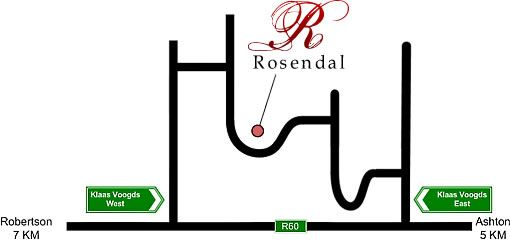 Map Rosendal Winery & Wellness Retreat in Robertson  Breede River Valley  Western Cape  South Africa