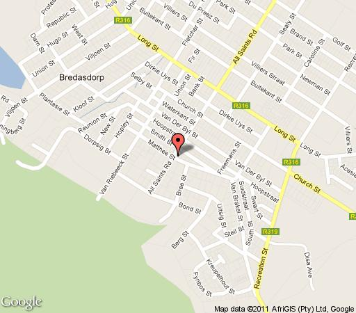 Map The Coach House   in Bredasdorp  Overberg  Western Cape  Zuid-Afrika