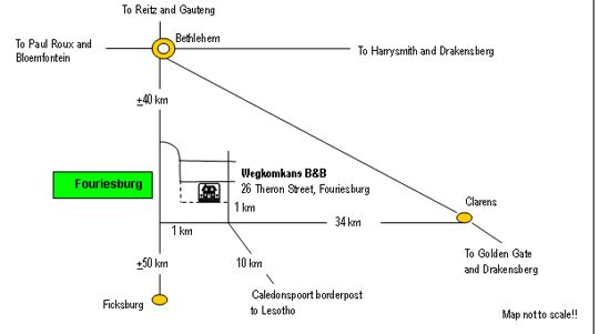 Map Wegkomkans B&B in Fouriesburg  Thabo Mofutsanyana  Free State  South Africa