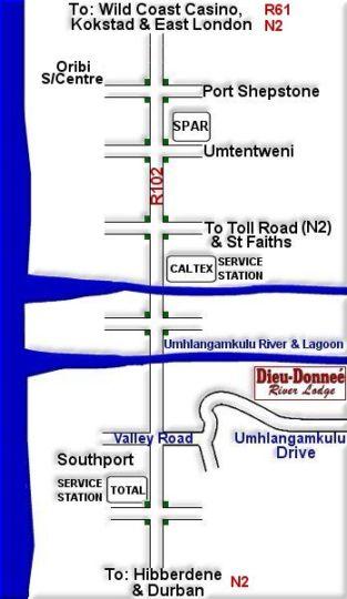 Map Dieu Donnee River Lodge in Port Shepstone  South Coast (KZN)  KwaZulu Natal  South Africa
