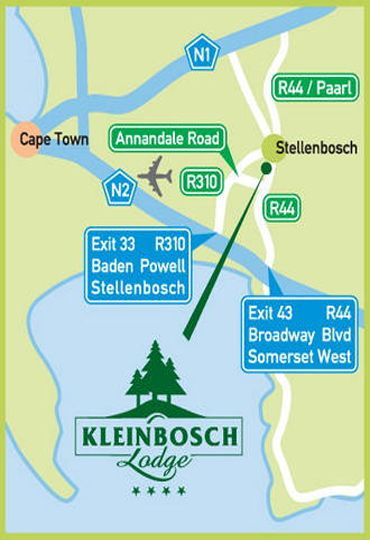 Map Kleinbosch Lodge in Stellenbosch  Cape Winelands  Western Cape  South Africa
