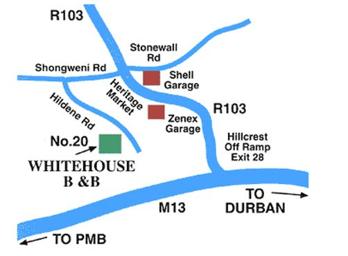 Map Whitehouse B&B in Hillcrest  Western Suburbs (DBN)  Durban and Surrounds  KwaZulu Natal  South Africa