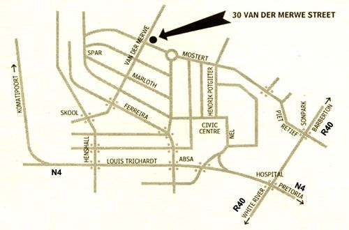 Map Haden\'s Rest Guesthouse in Nelspruit  Lowveld  Mpumalanga  South Africa