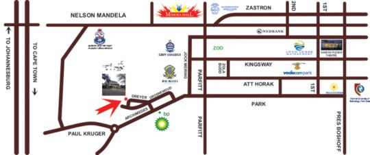 Map Aandmuzik Guest House in Bloemfontein  Mangaung  Free State  South Africa
