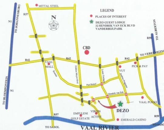 Map Dezo Guest Lodge  in Vanderbijlpark  Sedibeng District  Gauteng  South Africa