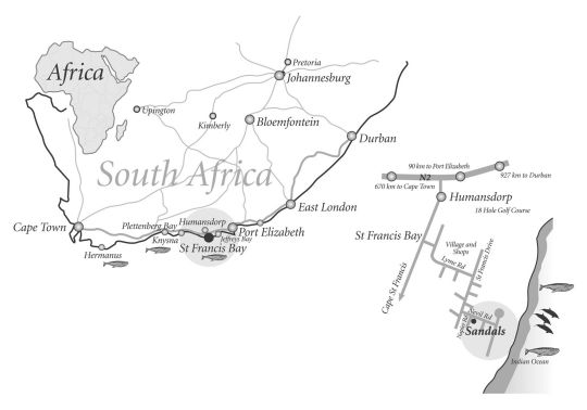 Map Sandals in St Francis Bay  Cacadu (Sarah Baartman)  Eastern Cape  South Africa