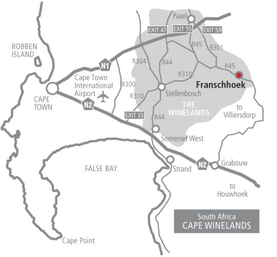 Map Franschhoek Country House & Villas in Franschhoek  Cape Winelands  Western Cape  South Africa