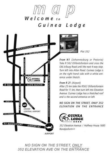 Map Guinea Lodge in Halfway House  Midrand  Johannesburg  Gauteng  Zuid-Afrika