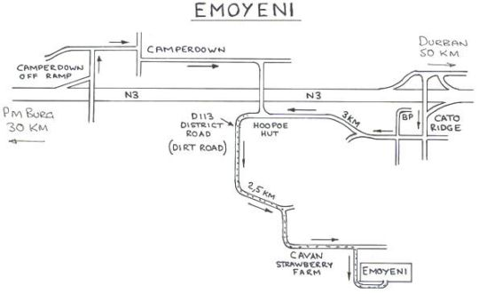 Map Emoyeni Country Lodge in Camperdown  Western Suburbs (DBN)  Durban and Surrounds  KwaZulu Natal  South Africa