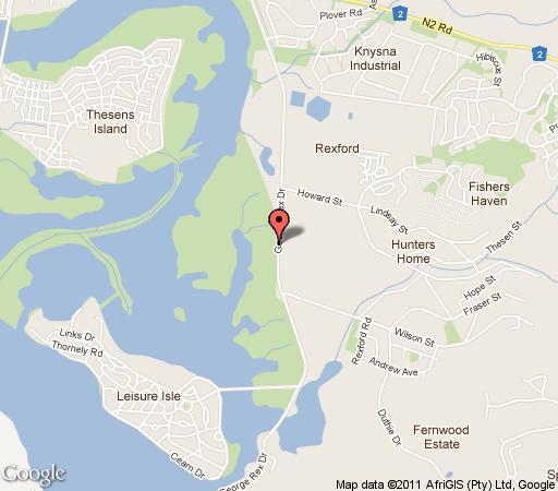 Map Lagoona Inn in Knysna  Garden Route  Western Cape  South Africa