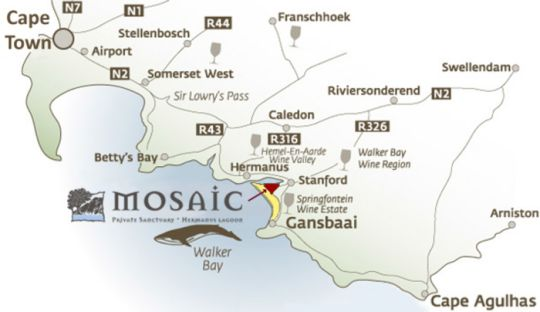 Map Mosaic Lagoon Lodge in Stanford  Overberg  Western Cape  South Africa