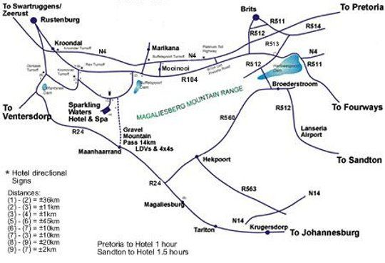 Map Sparkling Waters Hotel and Spa in Buffelspoort  Bojanala  North West  South Africa