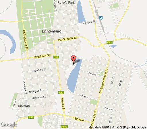 Map Lakeside Guesthouse in Lichtenburg  Central (NW)  North West  South Africa
