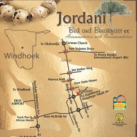 Map Jordani B&B in Windhoek  Khomas  Namibia