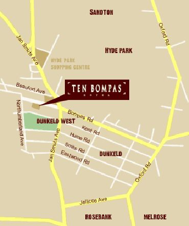 Map Ten Bompas Hotel in Dunkeld West  Northcliff/Rosebank  Johannesburg  Gauteng  South Africa