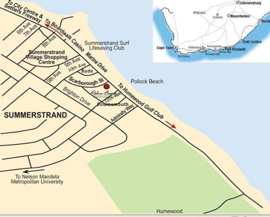 Map Palm Beach Guesthouse in Summerstrand  Port Elizabeth  Cacadu (Sarah Baartman)  Eastern Cape  South Africa