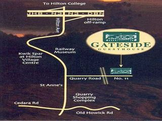 Map Gateside Guesthouse in Hilton  Pietermaritzburg  Midlands  KwaZulu Natal  South Africa